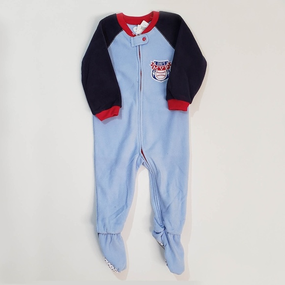 NWT The Childrens Place Boys Sharks Hooded Fleece Sleeper Pajamas
